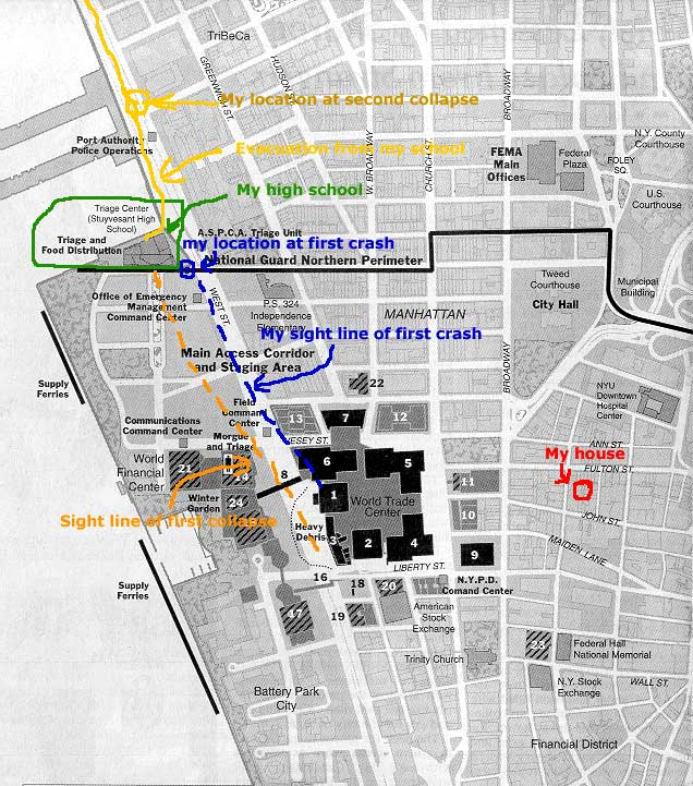 David's map shows the location of his home, school and escape route on September 11, 2001