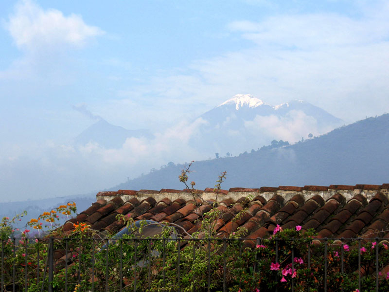 Snow on Volcano Acatenango, seen from our house.  Click to see a larger image.